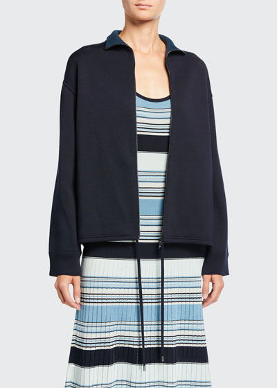 Silk-Knit Zip-Front Bomber Sweater