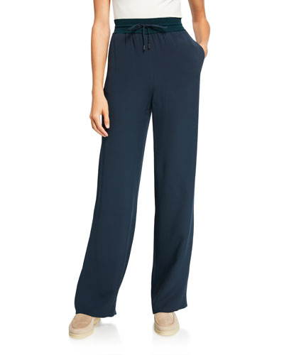Silk Georgette Wide-Leg Pants