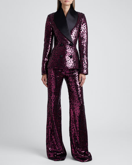 Sequined Stovepipe Wide-Leg Trousers