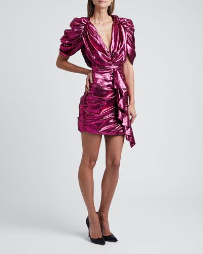 Lame V-Neck Ruffled Mini Dress