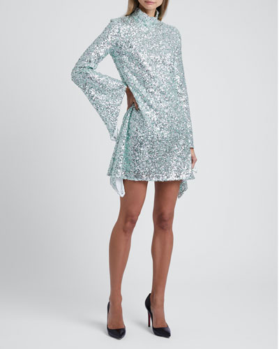 Sequined High-Neck Mini Dress
