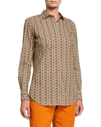 Kara Mosaic-Print Button-Front Shirt