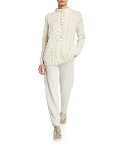 Cashmere Cable-Knit Mock-Neck Sweater