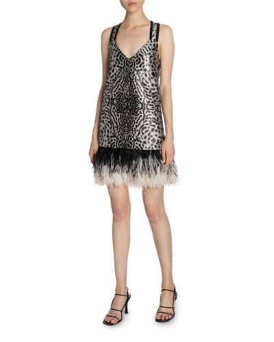 Animal-Print Jacquard V-Neck Feather-Trim Dress