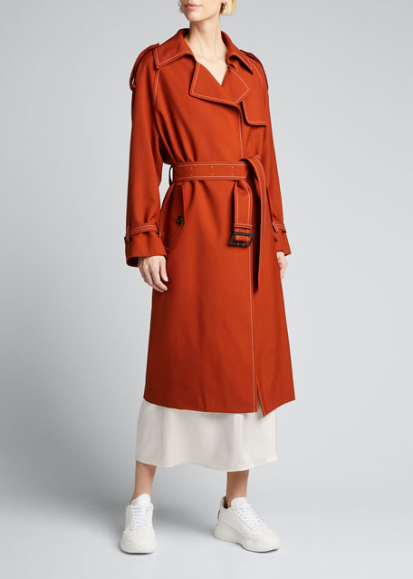 Contrast-Stitched Wool Trench Coat