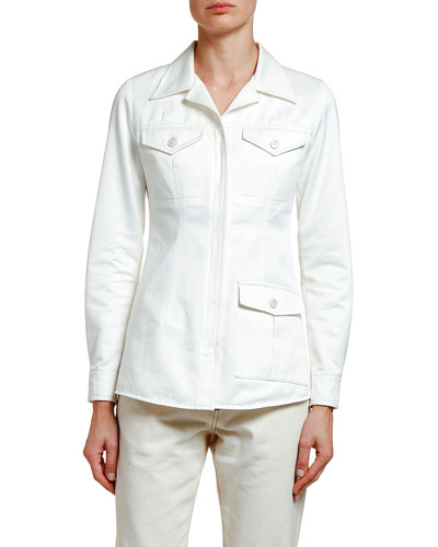 Cotton Sateen Utility Shirt Jacket