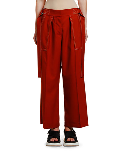 Side-Belted Stitched Wool Trousers