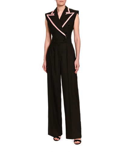 Sleeveless Stretch-Wool Tuxedo Jumpsuit