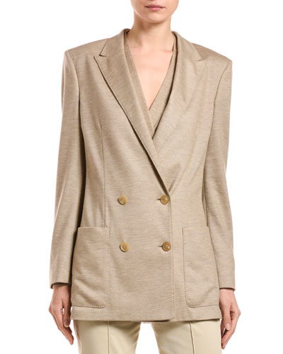 Cashmere Pique Double-Breasted Jacket