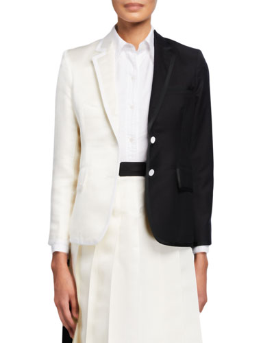 Vertical-Split Wide-Lapel Jacket