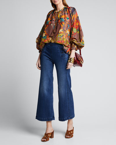 Abstract Tie-Neck Peasant Blouse