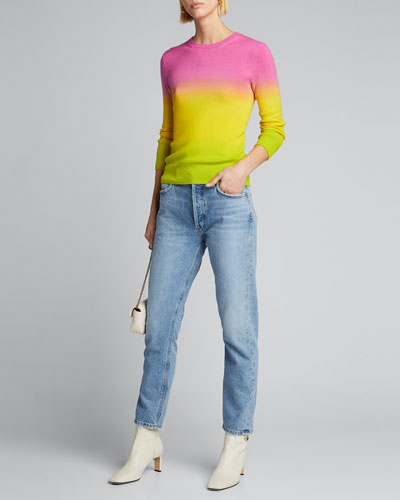 Cashmere Dip-Dyed 3/4-Sleeve Sweater