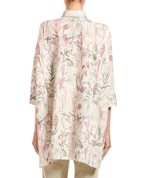 3/4-Sleeve Flower-Print Poplin Poncho Shirt