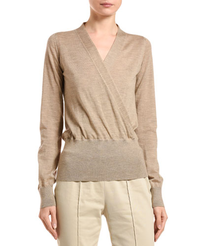 Cashmere Wrapped-Front Sweater
