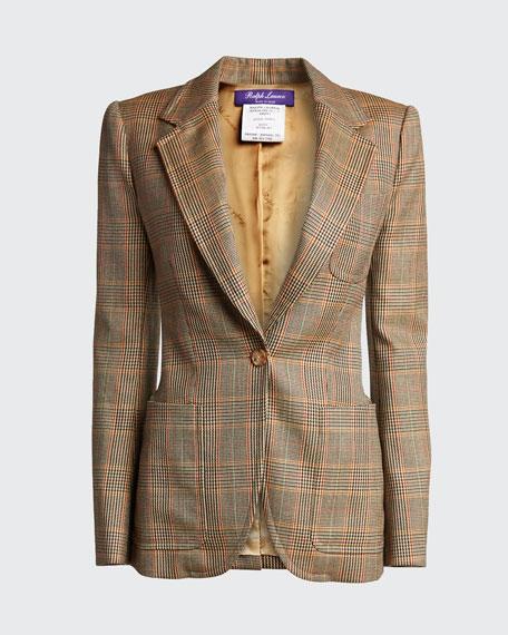 Afton Glen Plaid One-Button Hacking Jacket