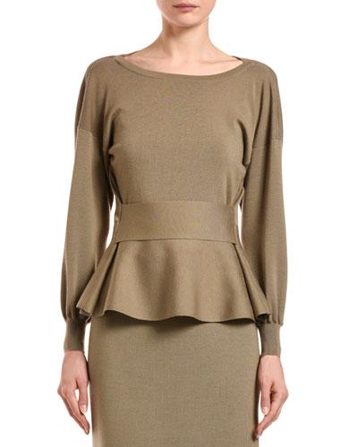 Wool-Silk Peplum Sweater