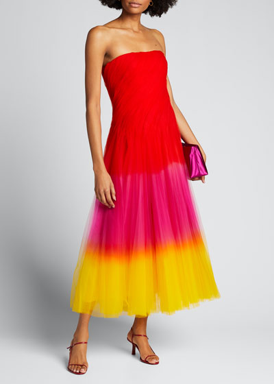 Clementine Dip-Dyed Tulle Strapless Dress
