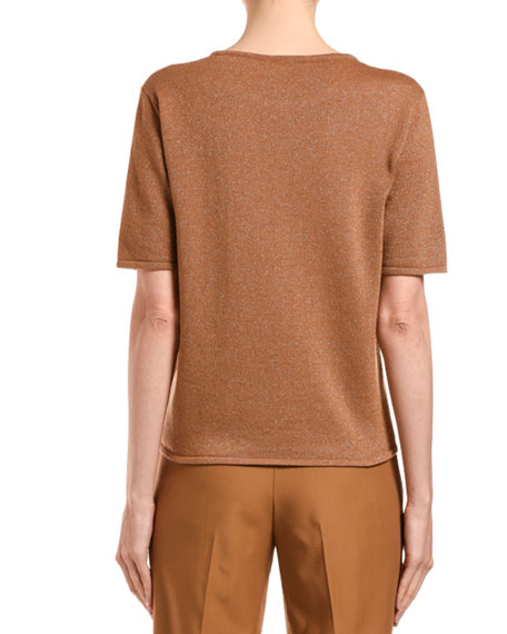 Cashmere Shimmered Short-Sleeve Sweater