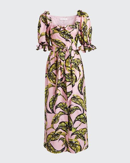 Corina Leaf-Print Poplin Puff-Sleeve Dress