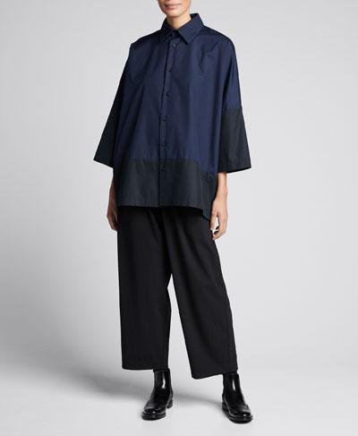 Colorblocked Slope-Shoulder Shirt