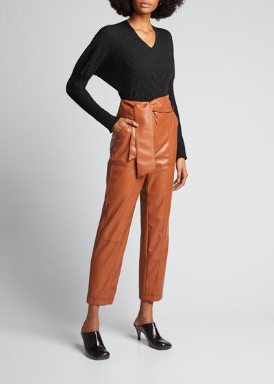Long-Sleeve Ribbed Merino Wool Sweater