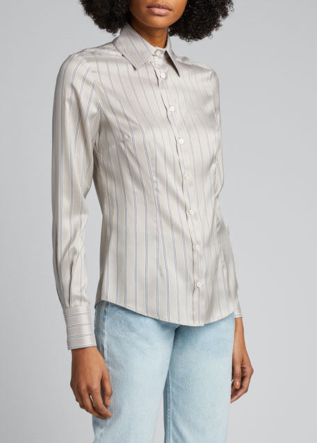 Striped Satin Silk Shirt