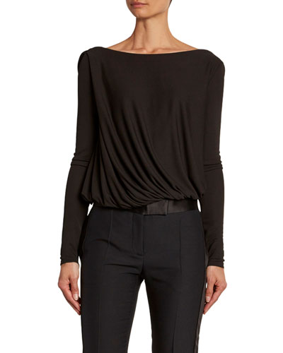 Draped-Front Jersey Bodysuit