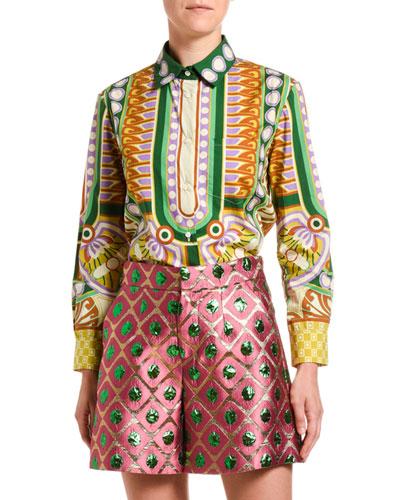 Geometric-Print Cotton Boy Shirt