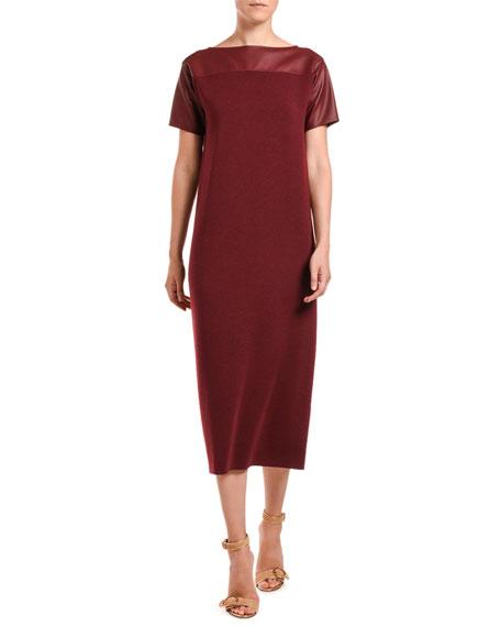 Leather-Shoulder Merino-Silk Knit Midi Dress