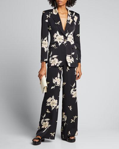 Spaced Plumeria Floral Print Pinstriped Silk Pants