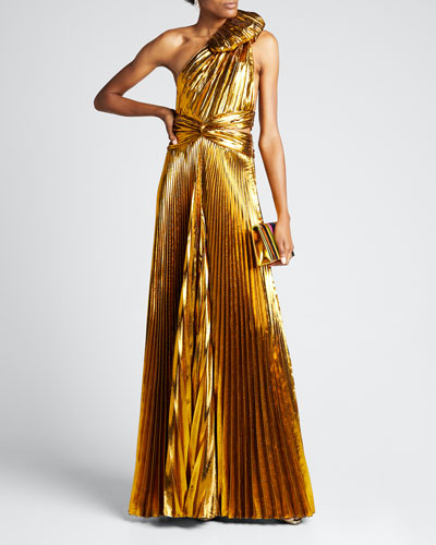One-Shoulder Pleated Lame Gown