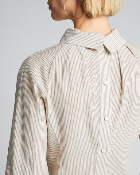 Striped Fitted Button-Front Shirt
