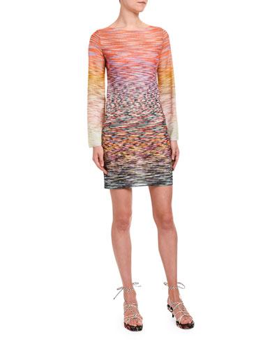 Long-Sleeve Degrade Mini Dress