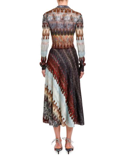 Diagonal Optical-Knit Shirtdress