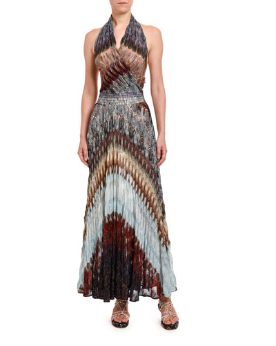 Diagonal Midi Halter Dress