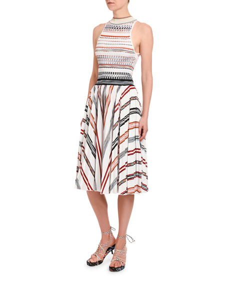 Striped Halter-Neck Dress