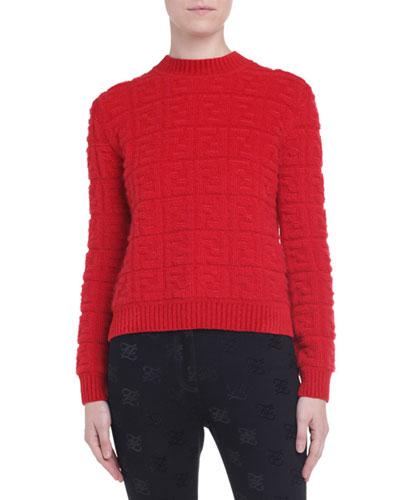 Tonal-Monogram Jacquard Chunky Sweater