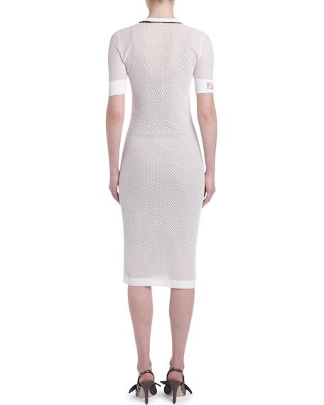 Open-Weave V-Neck Cocktail Dress