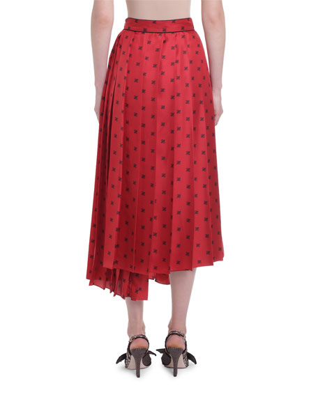 Pleated Karligraphy Asymmetric Skirt
