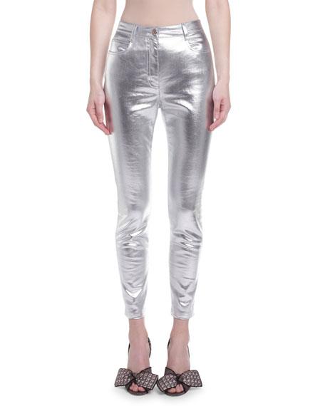 Image 1 of 1: Metallic-Coated Skinny Jeans
