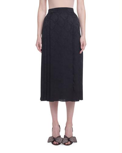 Jacquard Silk Pleated Skirt