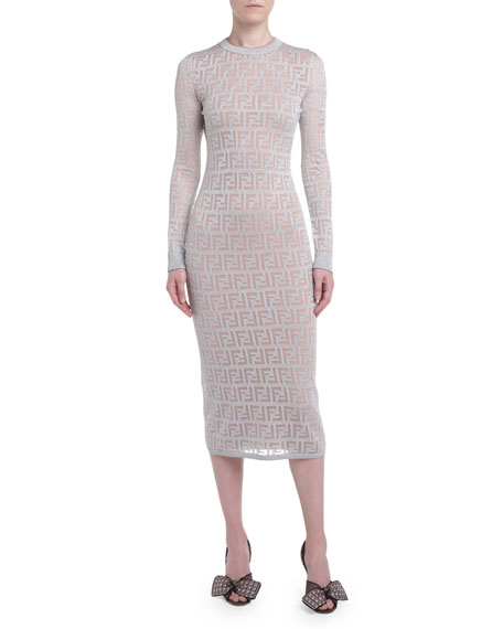 Logo Jacquard Long Sleeve Bodycon Dress by Fendi