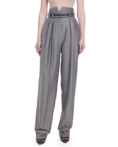 High-Rise Menswear Wide-Leg Pants