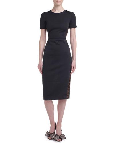 Logo-Taped Short-Sleeve Jersey Dress