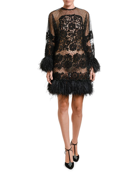 Feather-Trim Lace Dress