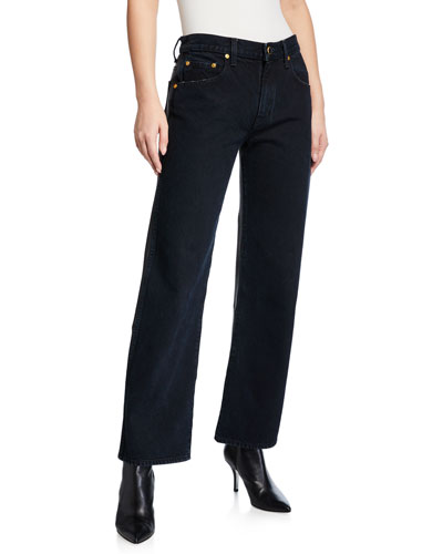 Kerrie Leather-Back Straight-Leg Jeans