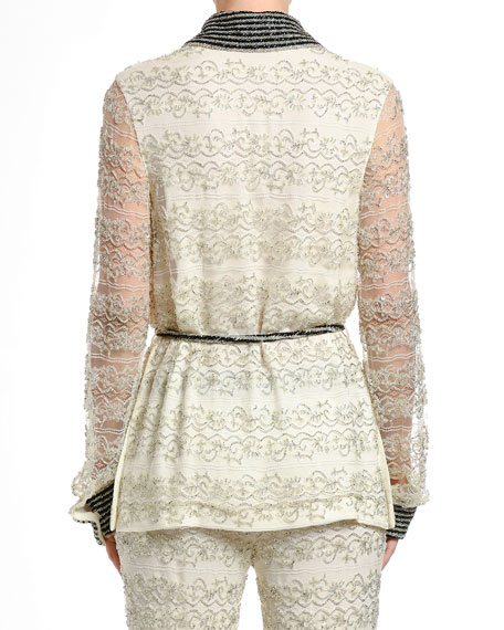 Embroidered Lace Pajama Blouse