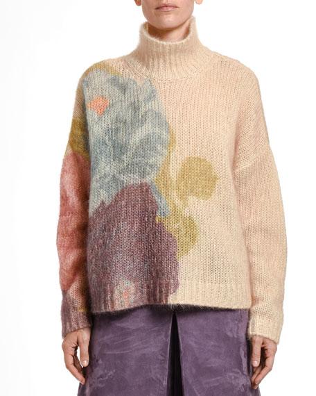 Camellia Flower Fuzzy Knit Sweater