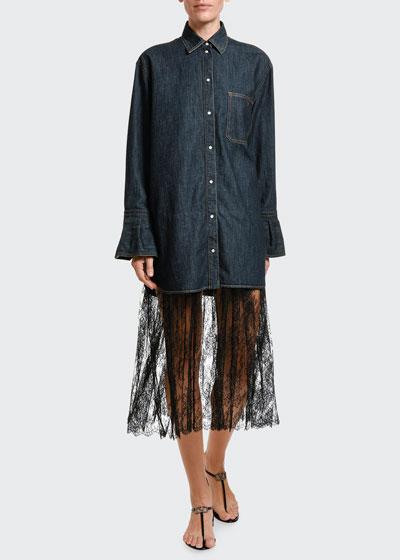 Denim & Lace Midi Shirtdress