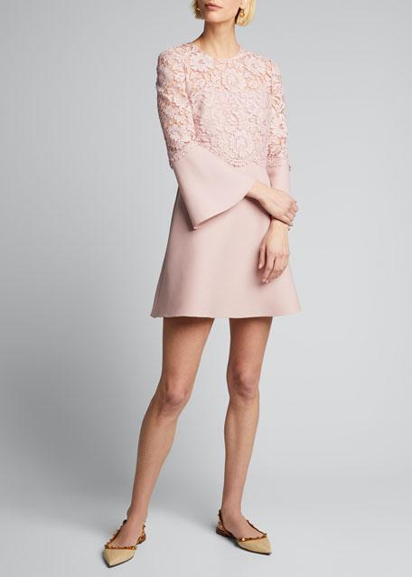 Lace-Bodice Crepe Flare-Sleeve Dress